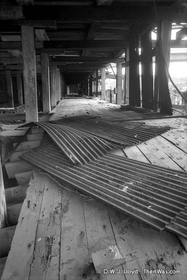 The collapsing pathway underneath the black corrugated iron warehouse.