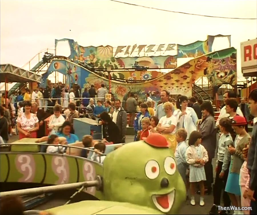 The Flitzer and Caterpillar at Barry Island Fun Fair circa 1986 - Still from Bloody New Year.