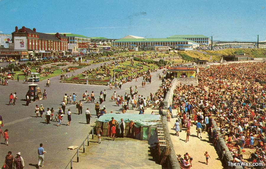 A view of the beach and promenade early 1970s