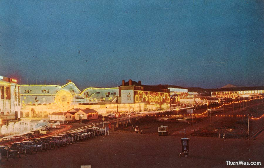 The old scenic railway and promenade at night late 1960s
