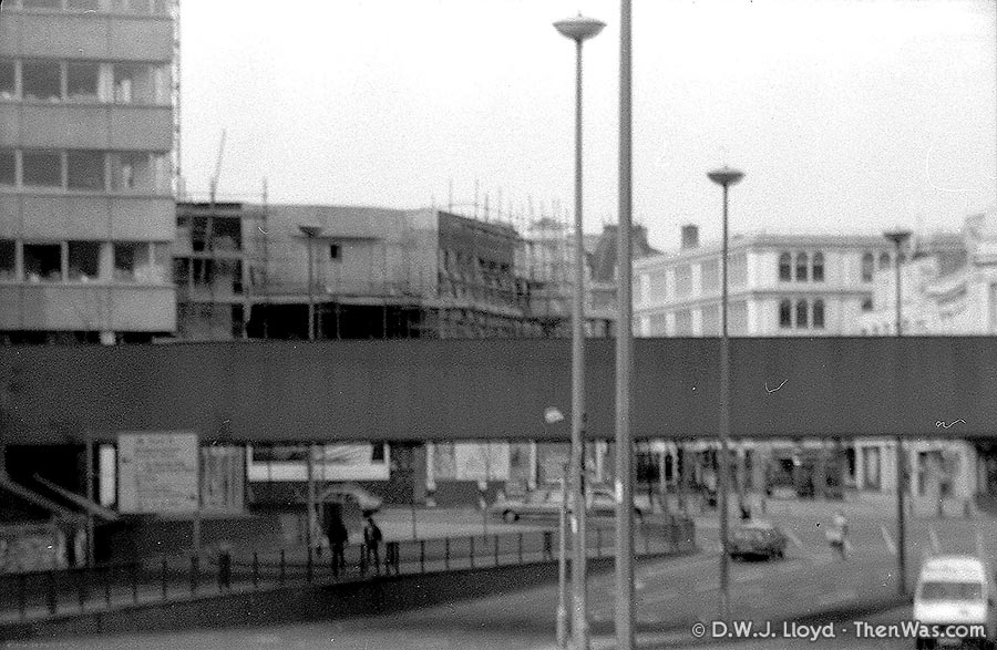 Blurry photo of the top of Queen Street, the Capitol Centre undergoing construction