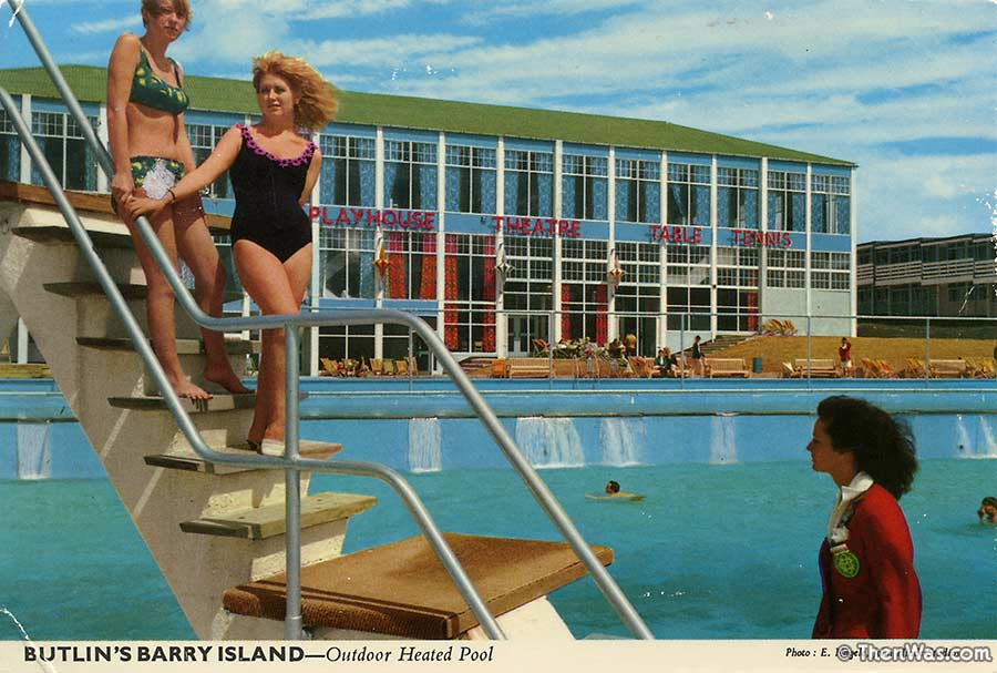 The diving board at the outside pools at Barry Island Butlins