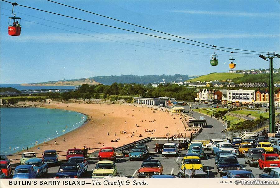 View of the chairlift and the beach at Barry Island
