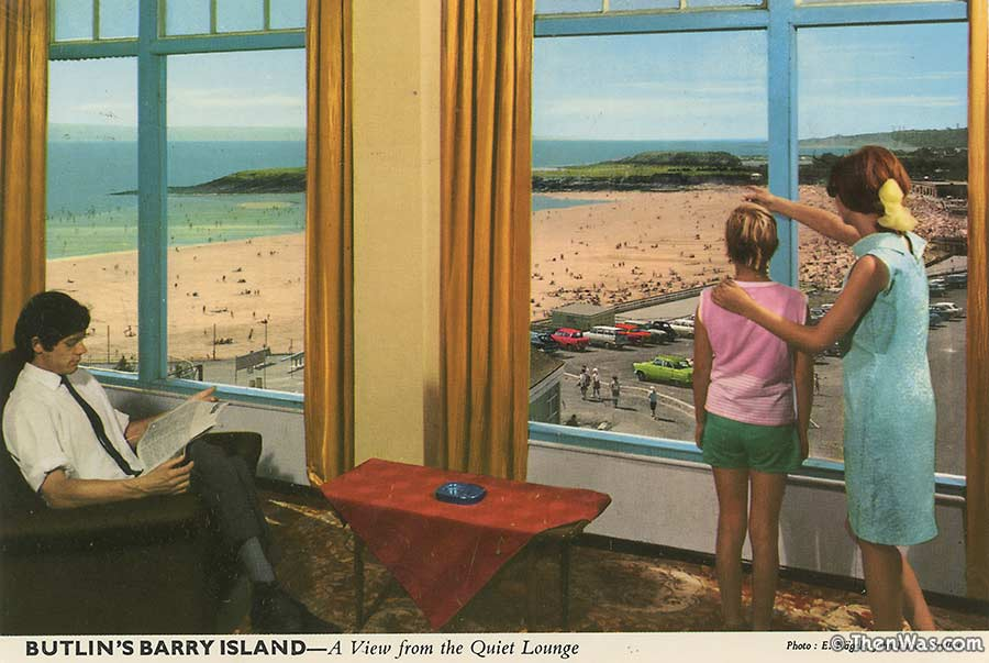 View from The Quiet Lounge at Barry Butlins, note the late 1960s stylings