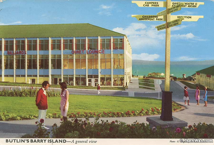 View across the green and Severn at Barry Butlins