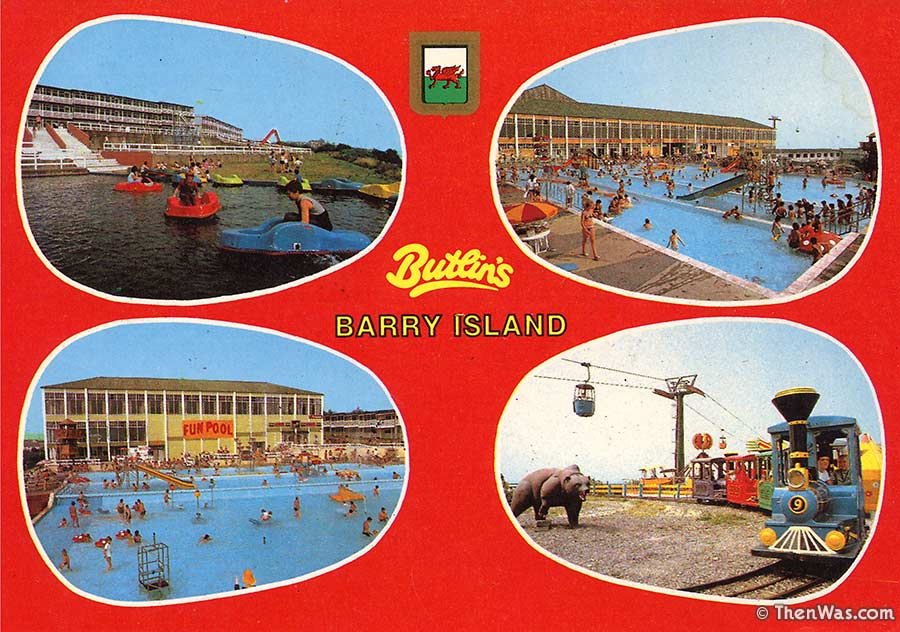 1980s multiview card with views of the fair and pools
