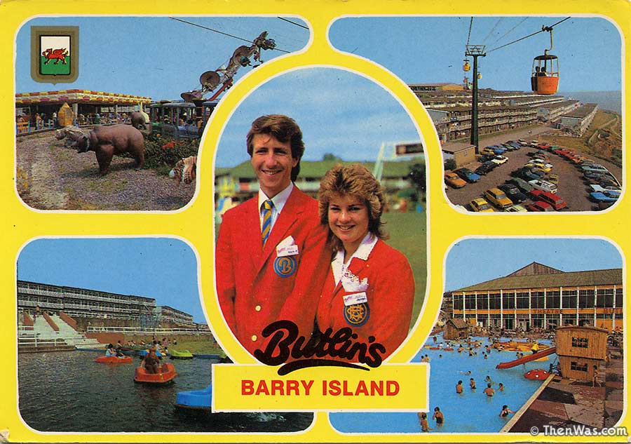 1980s multiview card with a pair of happy red coats and some more great views