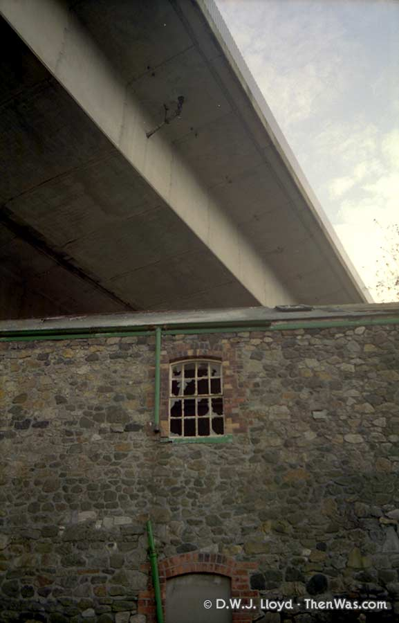 Exterior of building below the flyover