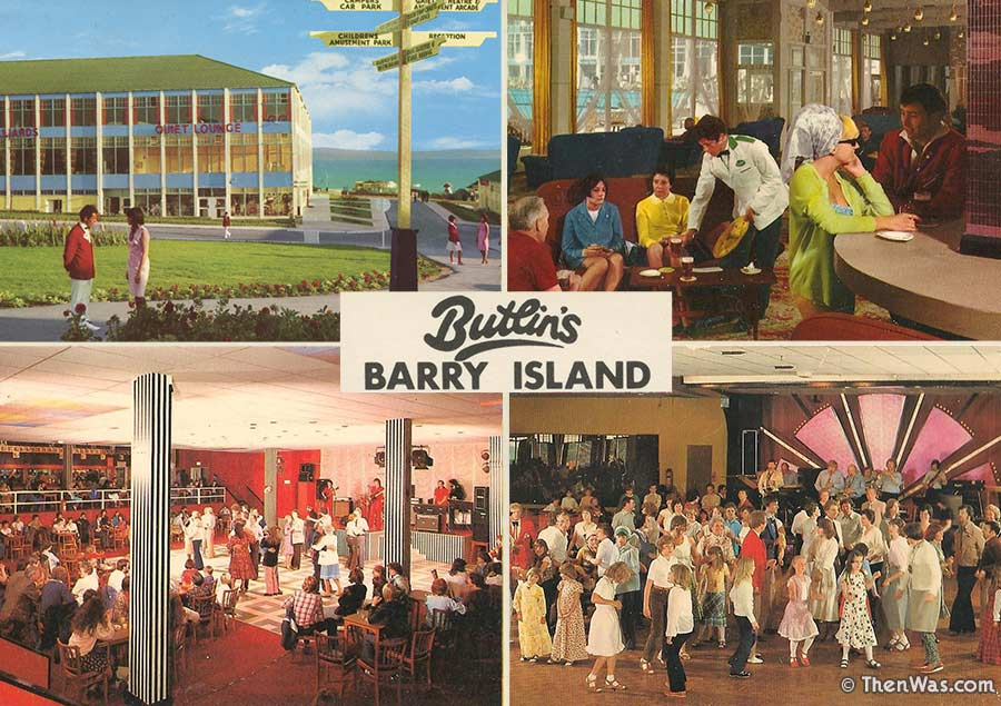 Hinde multiview postcard with scenes from the camp including the Regency and Gaiety bars