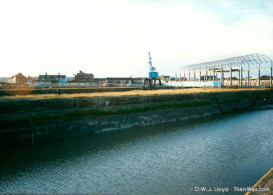 View across the Mount Stuart Graving Docks and the stripped out Techniquest building (circa 1992/93)