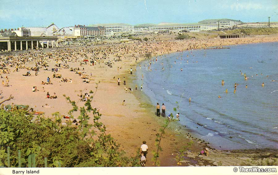 View of the beach late 1960s / early 1970s - scenic railway visible