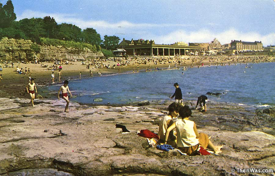 View from the headland back towards the beach and Western Shelter, circa mid 1960s