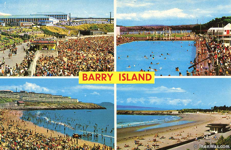 Early 1970s multiview card showing a packed beach and Cold Knap open air pool