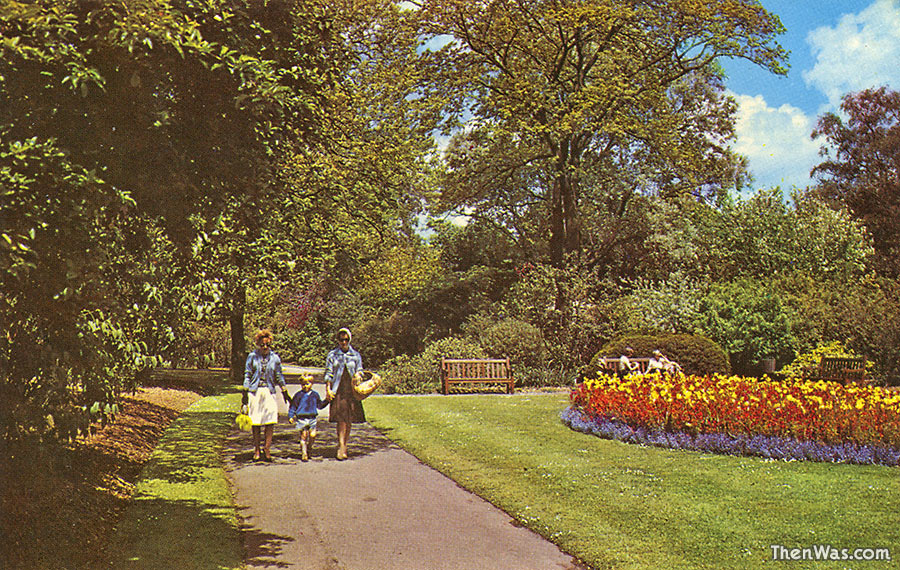 1960s / 1970s view of the flower beds in the park