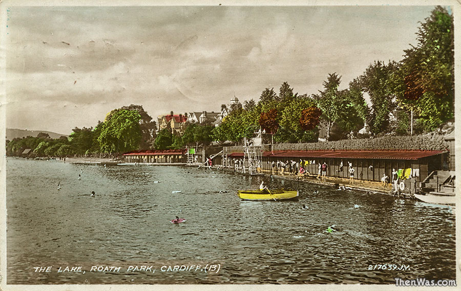 1930s view of the swimming area and changing rooms on the lake