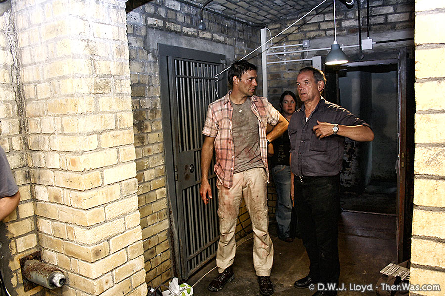 Joseph Millson and David Schofield take a moment in one of the old bank vaults
