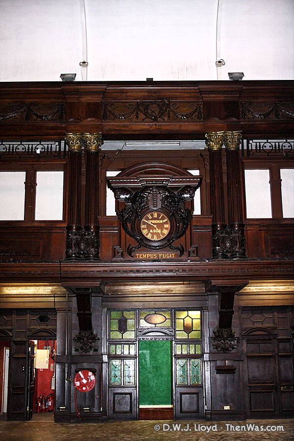 View of the clock and glass windows in the Coal Exchange