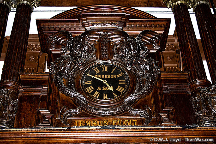 The clock in the main hall of the Coal Exchange