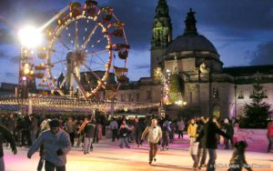 Cardiff City Hall and the Winter Wonderland in 2005