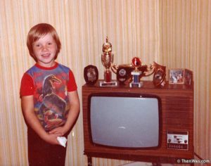 Me with my grandparents' TV with the magical interactive sound