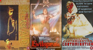 The BBFC 18 mid 1980s VHS covers of previously banned films.