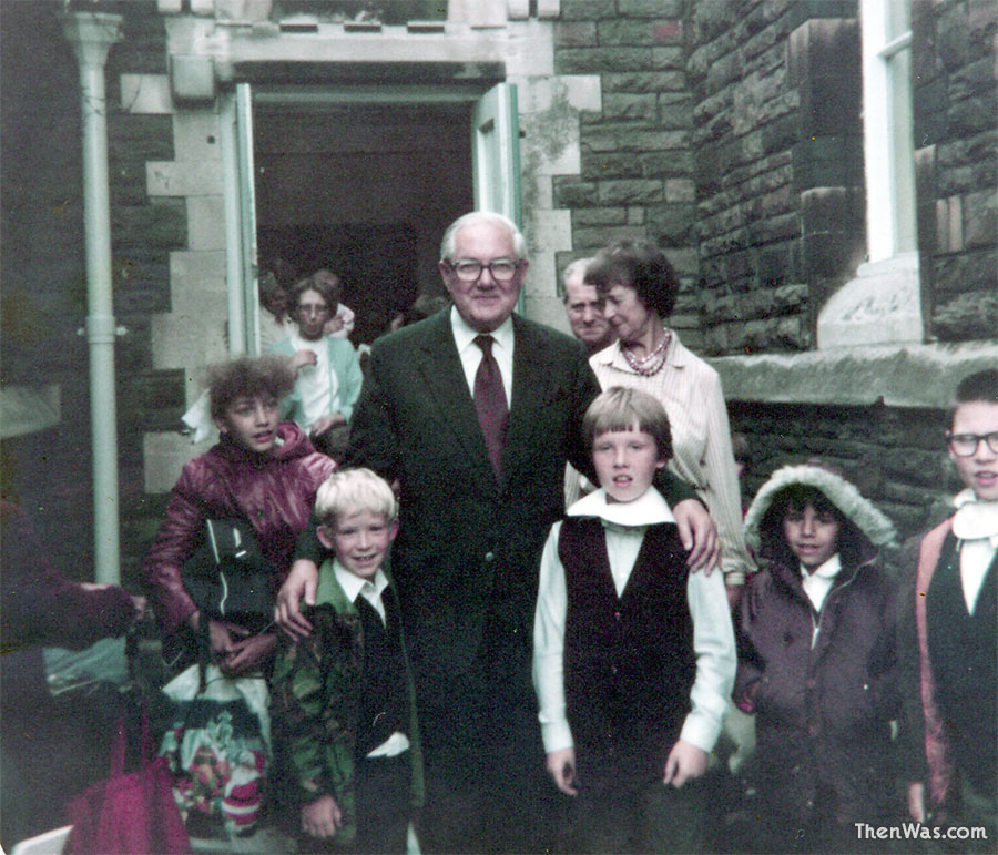 Myself outside the infants school entrance of Stacey Road School with James Callaghan